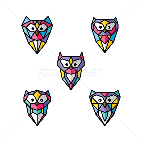 Coruja logotipo colorido vetor conjunto Foto stock © vector1st