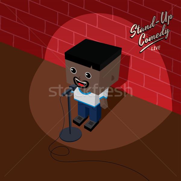 Stoją w górę komedia izometryczny cartoon człowiek Zdjęcia stock © vector1st
