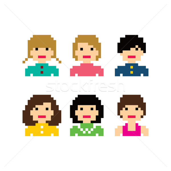 pixel people woman avatar set Stock photo © vector1st