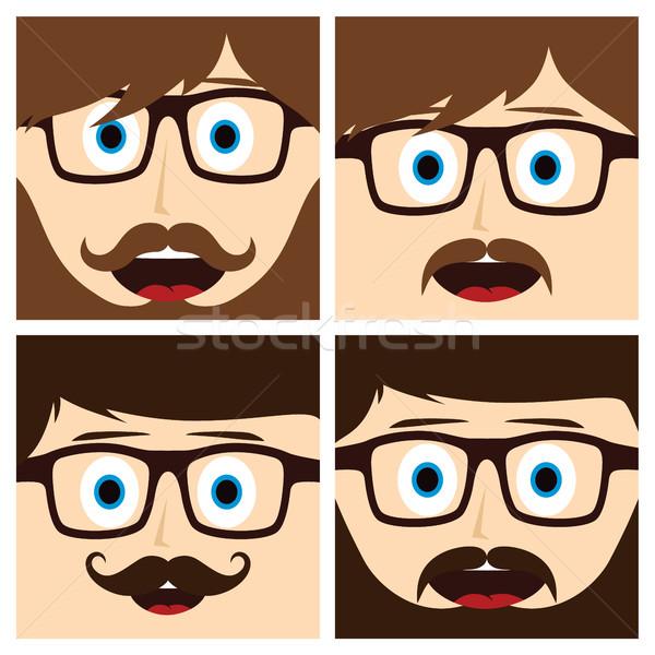 Geek усы парень вектора искусства Сток-фото © vector1st