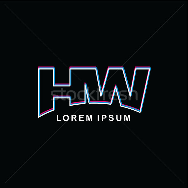 initial neon light letter brand logo template logotype Stock photo © vector1st