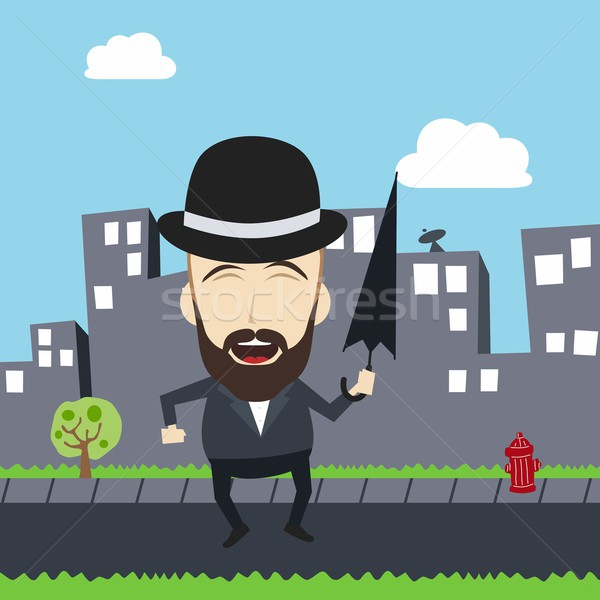 fun guy with umbrella and bowl hat Stock photo © vector1st