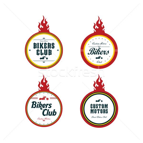 Stock photo: vintage motorcycle badge theme set