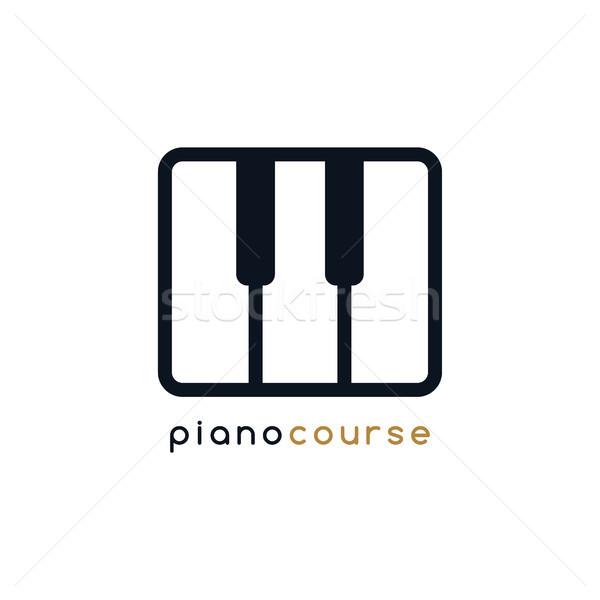 Zongora kulcs jegyzet lecke logo logotípus Stock fotó © vector1st