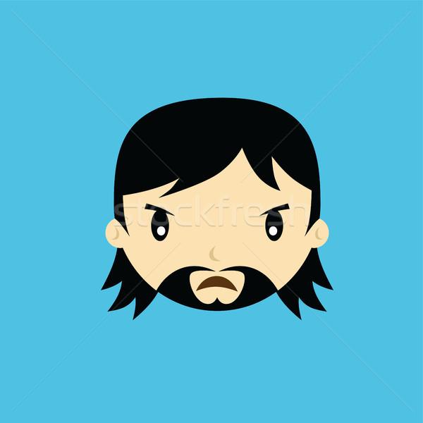 Cartoon gezicht mannelijke vent man vector Stockfoto © vector1st