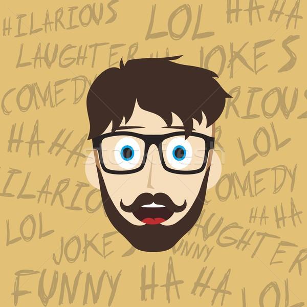 Grappig lachend vent mannelijke hilarisch Stockfoto © vector1st