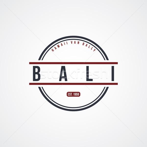 Bali placa Indonesia etiqueta vector arte Foto stock © vector1st