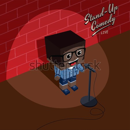 Stock photo: isometric female geek cartoon character