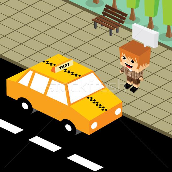 cartoon theme isometric taxi Stock photo © vector1st