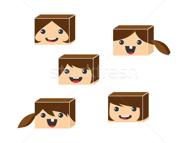 Izometrikus rajzfilmfigura vektor művészet grafikus nő Stock fotó © vector1st