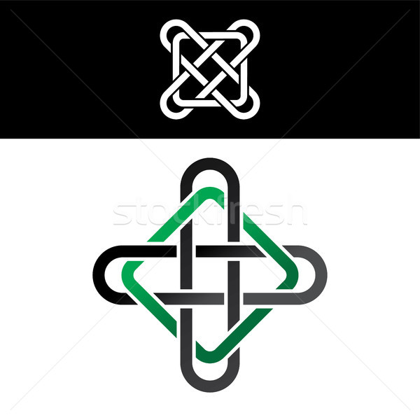 celtic overlapped green black abstract floral concept logo logotype Stock photo © vector1st