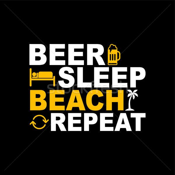 Bira uyku plaj tekrar ikon imzalamak Stok fotoğraf © vector1st