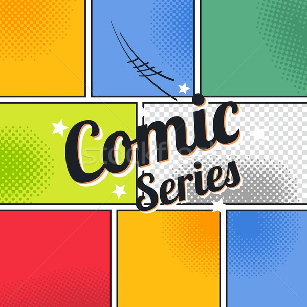 Stock photo: comic template element with speech bubble halftone art