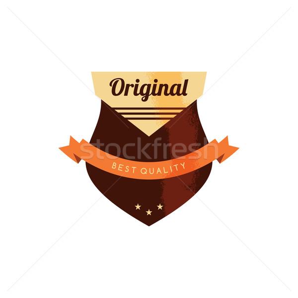 Retro prémium kitűző címke papír felirat Stock fotó © vector1st