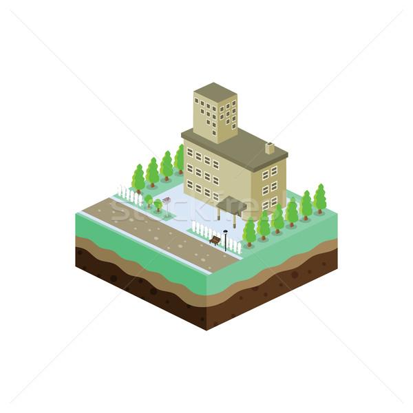 Izometrikus lakóövezeti kilátás rajz család ház Stock fotó © vector1st