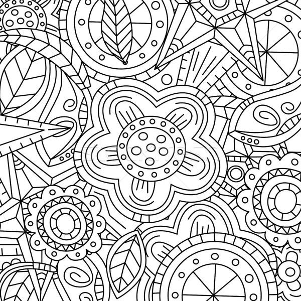 Virágmintás minta kézzel rajzolt textúra virágok monokróm Stock fotó © vector1st