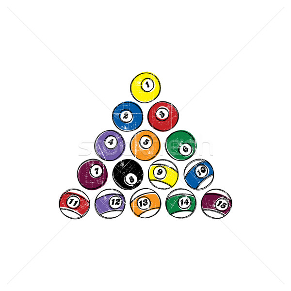 billiard ball sketch grungy doodle set Stock photo © vector1st