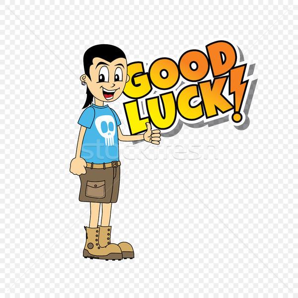 male cartoon character good luck theme Stock photo © vector1st