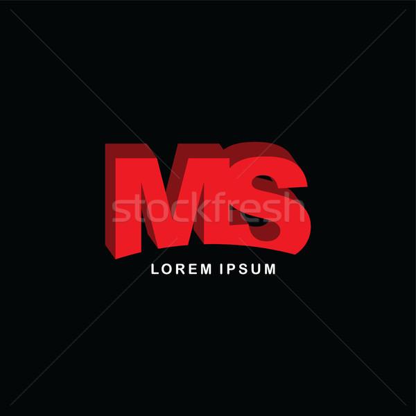 Rouge lettre marque logo modèle Photo stock © vector1st