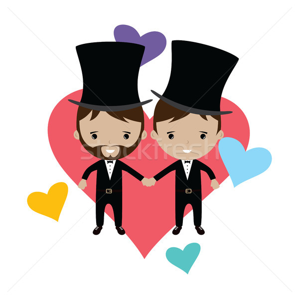 adorable gay spouse groom lovely cartoon marriage Stock photo © vector1st