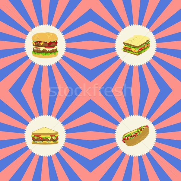 Voedsel drinken grafische kunst restaurant diner Stockfoto © vector1st