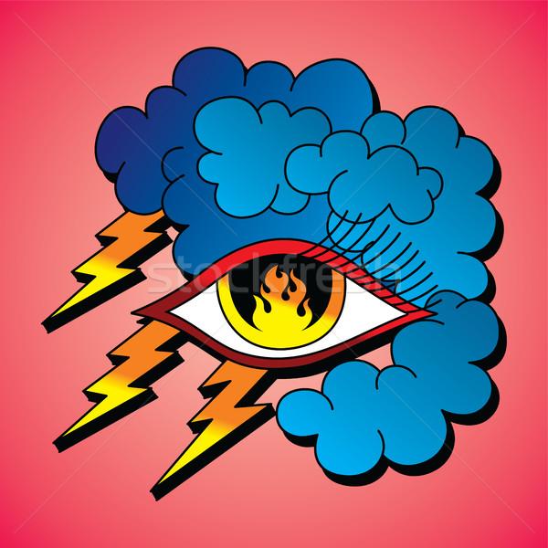 Llama ojo símbolo uno vector arte Foto stock © vector1st