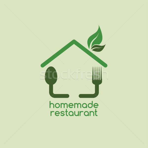 домашний ресторан логотип дома пить Сток-фото © vector1st