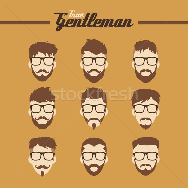 Stock photo: man hipster avatar user picture cartoon character vector illustration