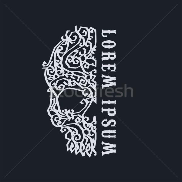 орнамент череп искусства вектора иллюстрация цветок Сток-фото © vector1st