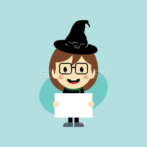 Halloween rajzfilmfigura vektor művészet illusztráció női Stock fotó © vector1st