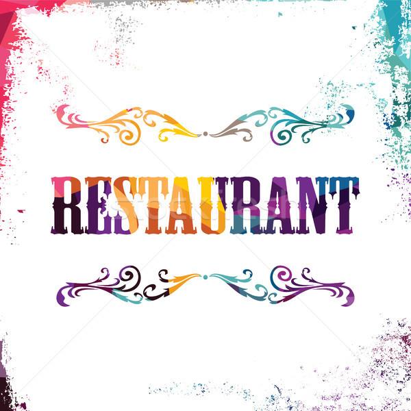 étterem felirat színes háromszög mértani textúra Stock fotó © vector1st