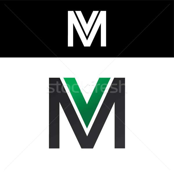Lettera logo verde nero design oro Foto d'archivio © vector1st