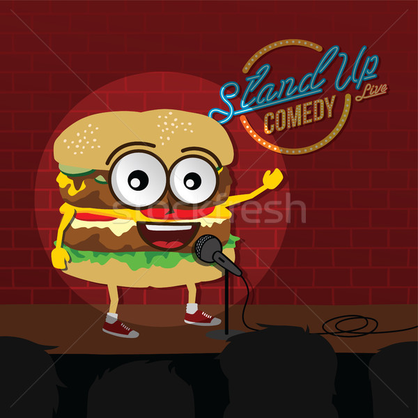 Stand up comédie Burger ouvrir alimentaire Photo stock © vector1st