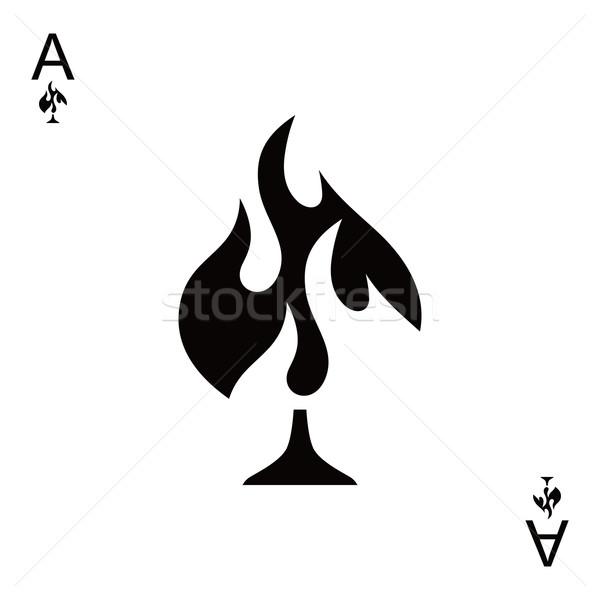 Feu bêche ace poker vecteur art Photo stock © vector1st