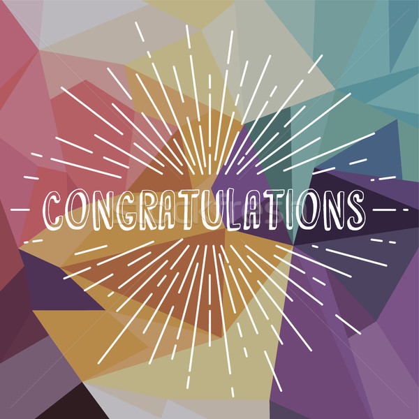 congratulations greetings sunrays retro theme Stock photo © vector1st