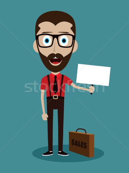 Siker üzletember aktatáska felirat boldog férfi Stock fotó © vector1st