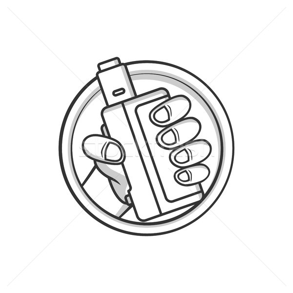 black and white cartoon electric cigarette - vaporizer vector Stock photo © vector1st