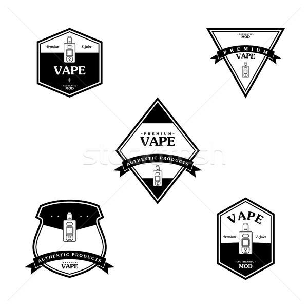 Elektromos cigaretta személyes retro címke kitűző Stock fotó © vector1st