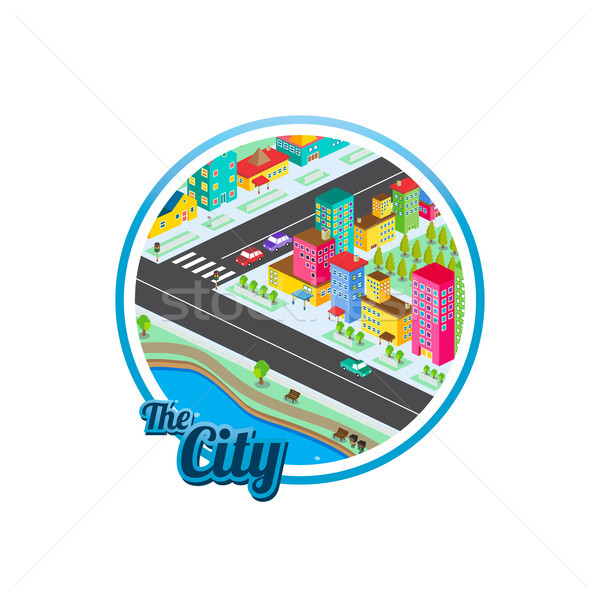 big city isometric real estate realty cartoon logo template Stock photo © vector1st