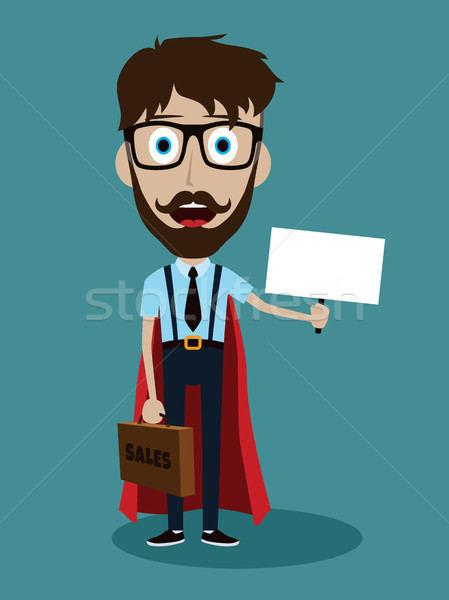 Genç işadamı stil süper kahraman karikatür evrak çantası Stok fotoğraf © vector1st