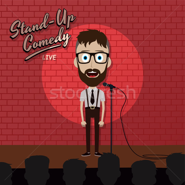 adult male stand up comedian cartoon character on red brick stage with spotlight Stock photo © vector1st