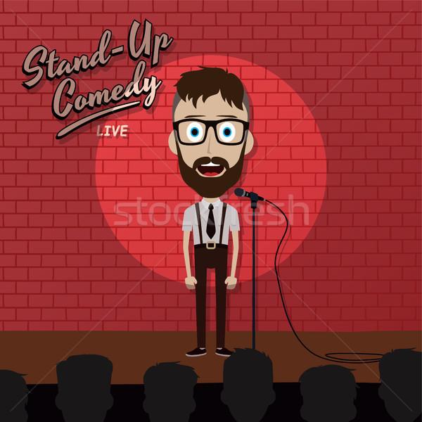 Felnőtt férfi áll felfelé komikus rajzfilmfigura Stock fotó © vector1st