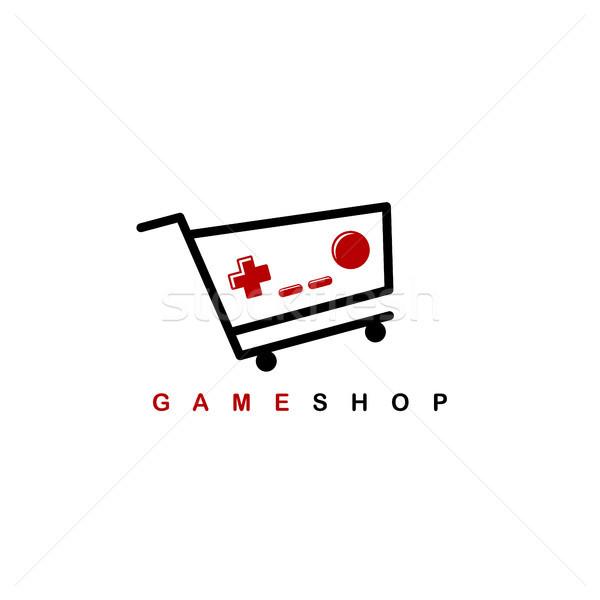 Video oyunu alışveriş logo şablon vektör çocuklar Stok fotoğraf © vector1st