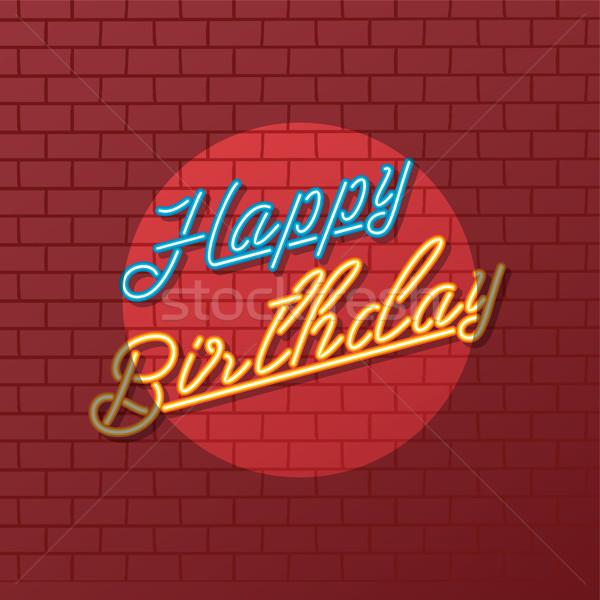 Joyeux anniversaire enseigne au néon accueil vecteur art Photo stock © vector1st