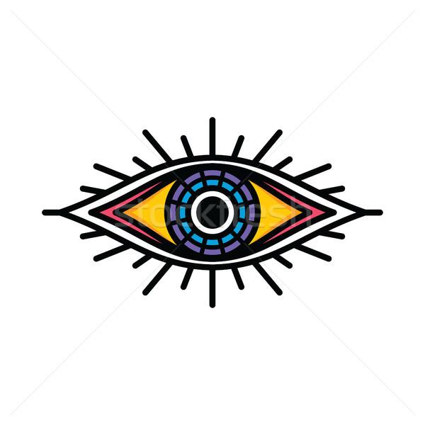 Egy szem felirat szimbólum logo logotípus Stock fotó © vector1st