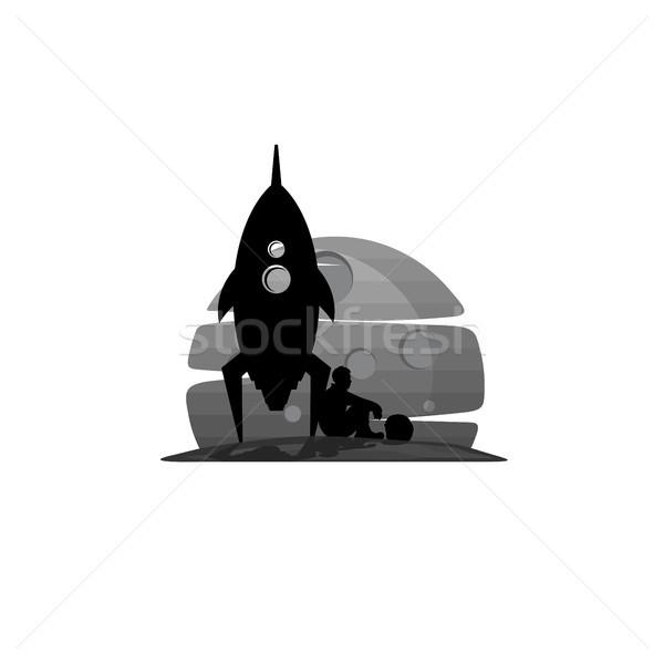 űrhajós ül űr rakéta nap tudomány Stock fotó © vector1st