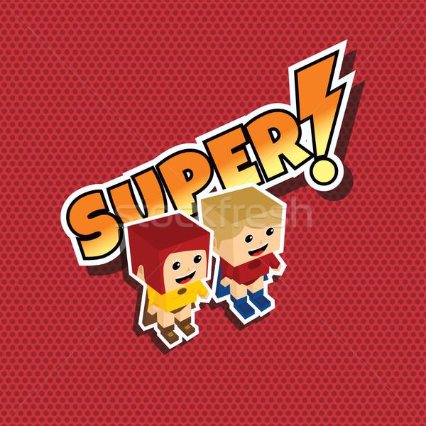 Nagyszerű szuperhős pár rajz lány férfi Stock fotó © vector1st