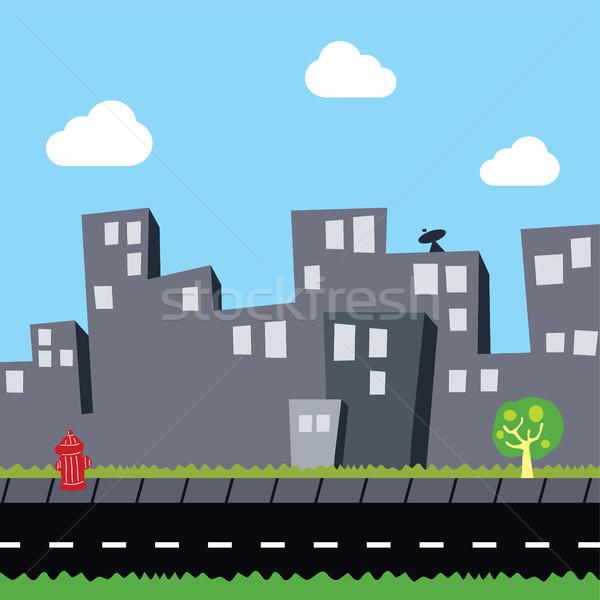 city view flat cartoon theme Stock photo © vector1st