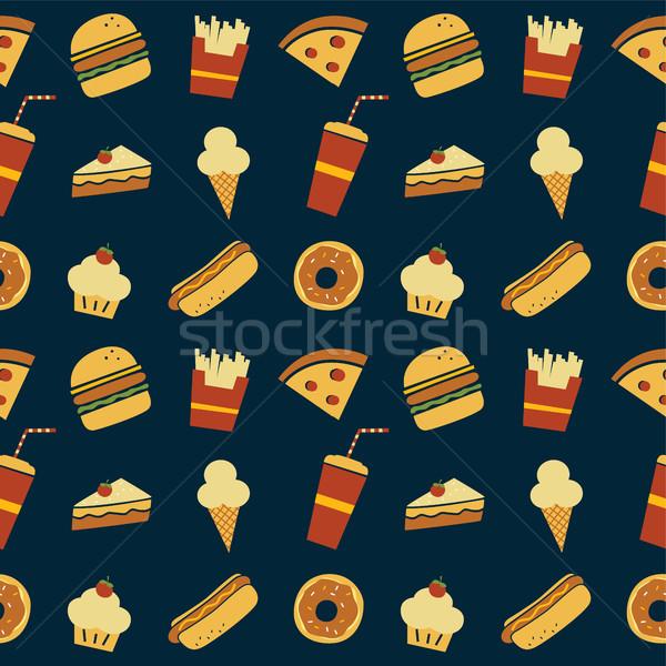 seamless fastfood restaurant theme pattern Stock photo © vector1st