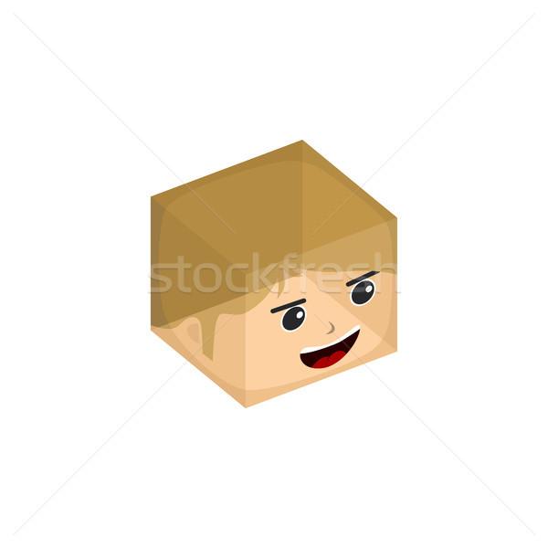 cube box transparent isometric cartoon character Stock photo © vector1st